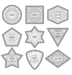 vintage style logos with sunburst nine vector image vector image
