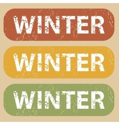 Vintage winter stamp set vector