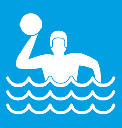 Water polo icon white vector