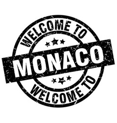 Welcome to monaco black stamp vector