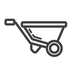 wheelbarrow line icon build and repair vector image