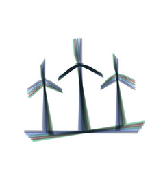 Wind turbines sign colorful icon shaked vector