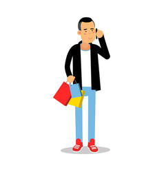 young man in fashionable clothes standing with vector image