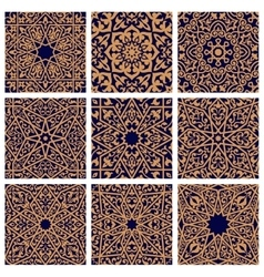 Arabic seamless floral pattern set for tile design vector