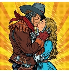 Steampunk robots cowboy kisses the girl vector