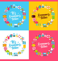 summer flat circles vector image