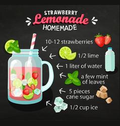 Recipe of homemade strawberry lemonade vector