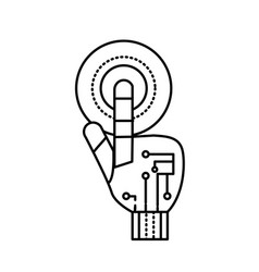 Line hand with finger touch and circuits digital vector