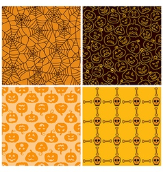 Halloween seamless patterns set of four vector