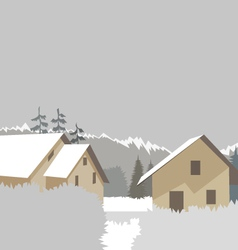 Mountain village winter ski resort vector