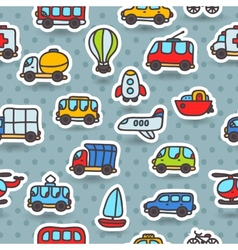 cartoon hand drawn transport seamless pattern vector image