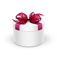 White round gift box with red ribbon and bow vector
