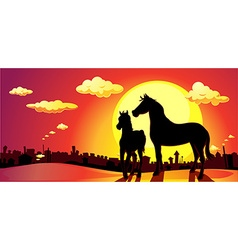 Banner horses in sunset above the city - vector