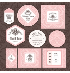 Set of floral wedding cards vector
