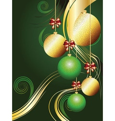 Gold and green xmas balls vector