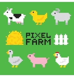 Pixel art farm animals isolated set vector
