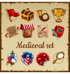 Set of medieval object on parchment paper vector