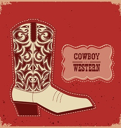 Cowboy boot card background western with te vector