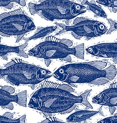 Freshwater fish endless pattern nature and marine vector