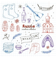 Hand drawn doodle russia travel set vector
