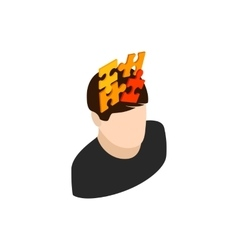 Male head with puzzle icon isometric 3d style vector
