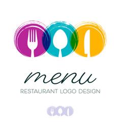 Abstract restaurant menu logo design vector