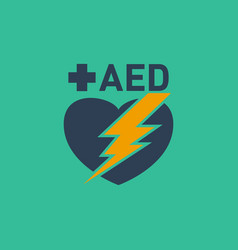 Aed automated external defibrillator logo vector