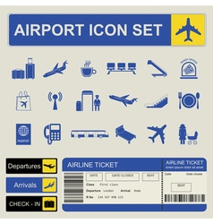Airport air travel icon set vector