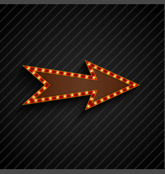 arrow sign with light bulbs on black background vector image vector image