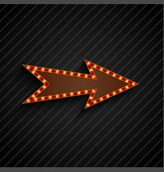 Arrow sign with light bulbs on black background vector