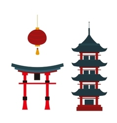 Beautiful travel landmarks chinese temple vector