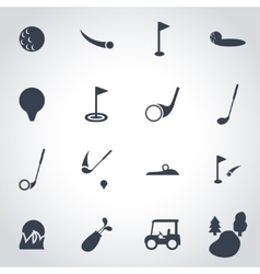 black golf icon set vector image