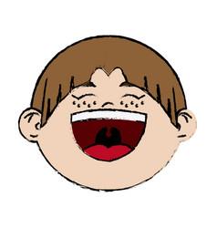 Cartoon laugh girl child celebration happy vector