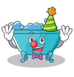 Clown bathtub character cartoon style vector