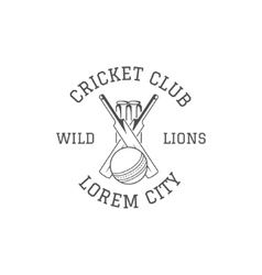 Cricket club emblem and design elements logo vector image vector image