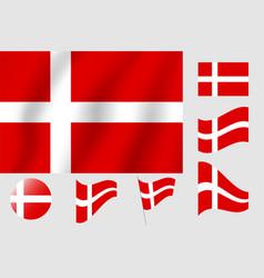 Denmark flag realistic flag national symbol design vector