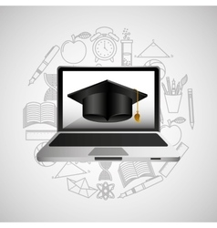 Eduation online concept technology school vector