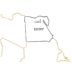 Egypt hand-drawn sketch map vector