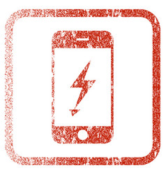 Electric mobile phone framed textured icon vector