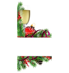 Glass of champagne with christmas ball vector