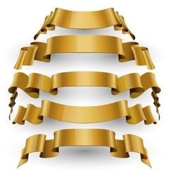 Gold glossy ribbons set vector