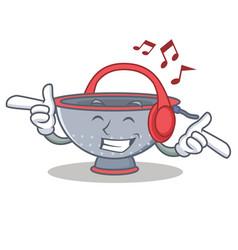 Listening music colander utensil character cartoon vector