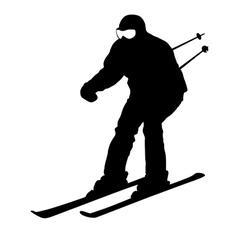 Mountain skier sport silhouette vector