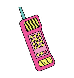 Old mobile phone vintage communication icon vector