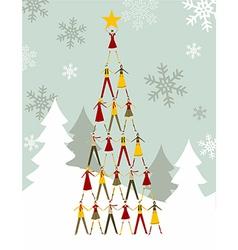 People Christmas tree vector image vector image
