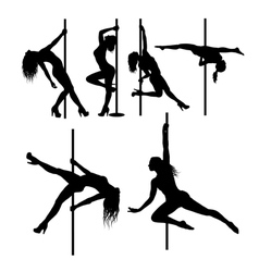 Pole dancer sexy female silhouettes vector