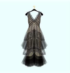 Retro style dress with rhinestones vector