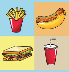 Set fast food with soda in the plastic cup vector
