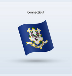 state of connecticut flag waving form vector image vector image