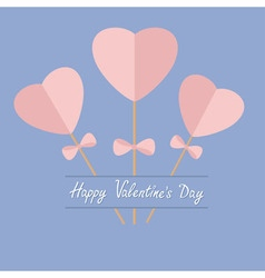Three sticks with hearts and bows happy valentines vector